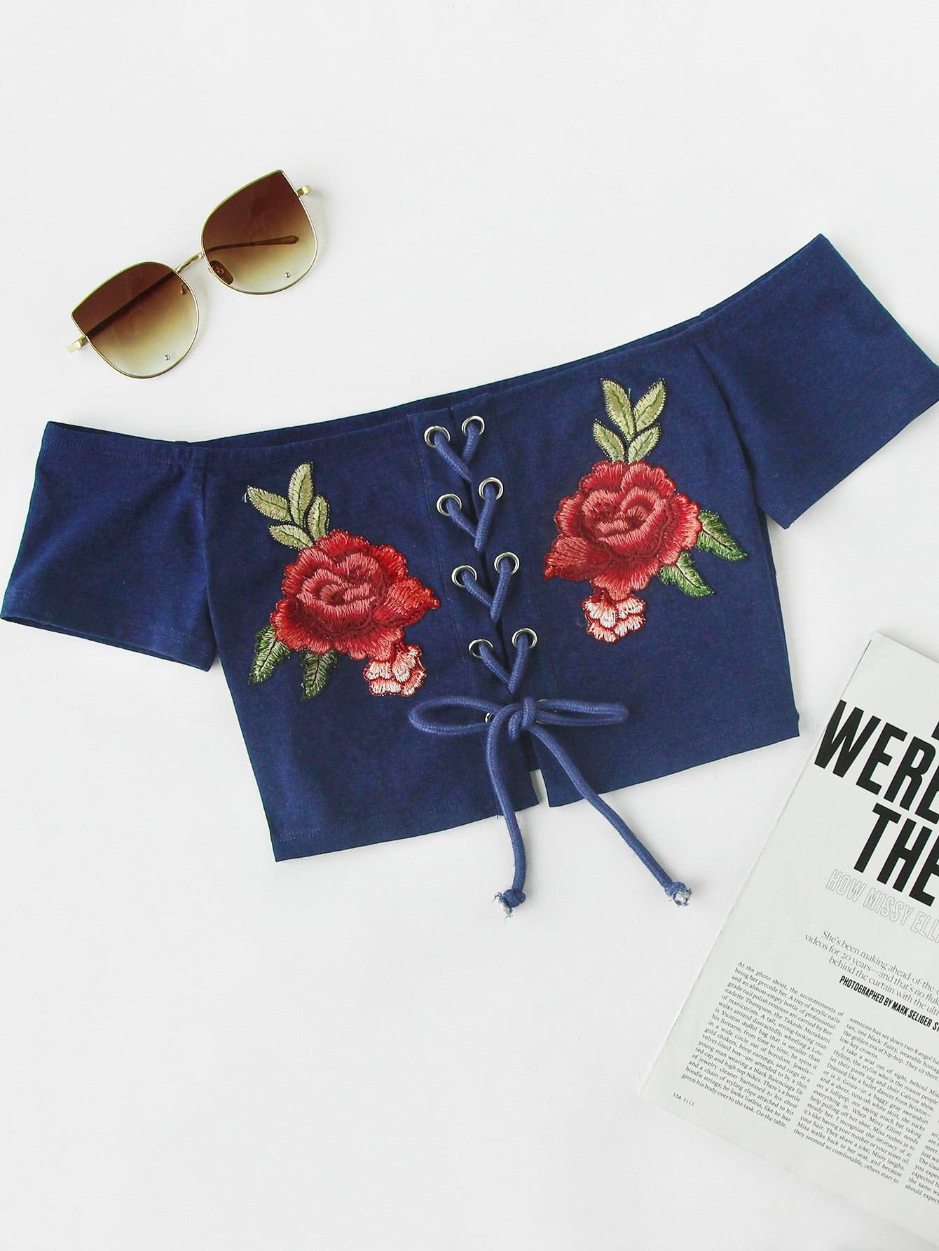 Фото Rose Patch Lace Up Crop Bardot Top. Купить с доставкой