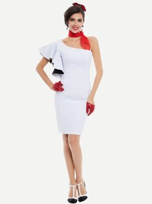Contrast Lining Exaggerated Frill Sleeve Slim Dress