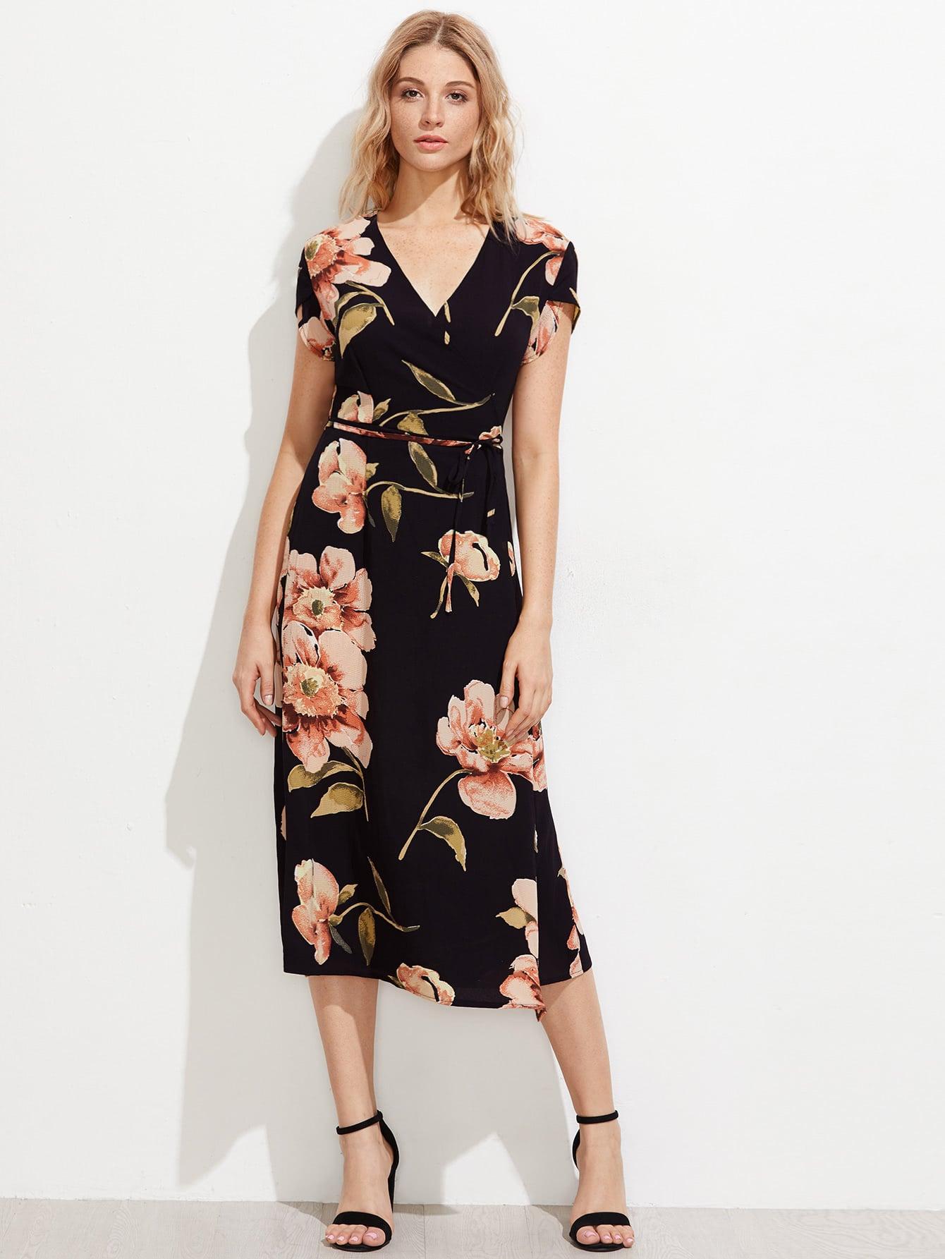 Random Florals Petal Sleeve Chiffon Dress