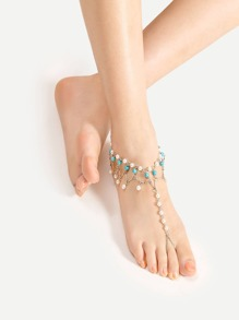 Faux Pearl Design Anklet With Toe Ring