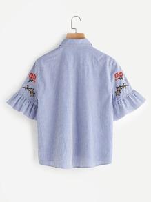 Модная блуза в полоску с цветочной вышивкой, рукав клёш фотографии