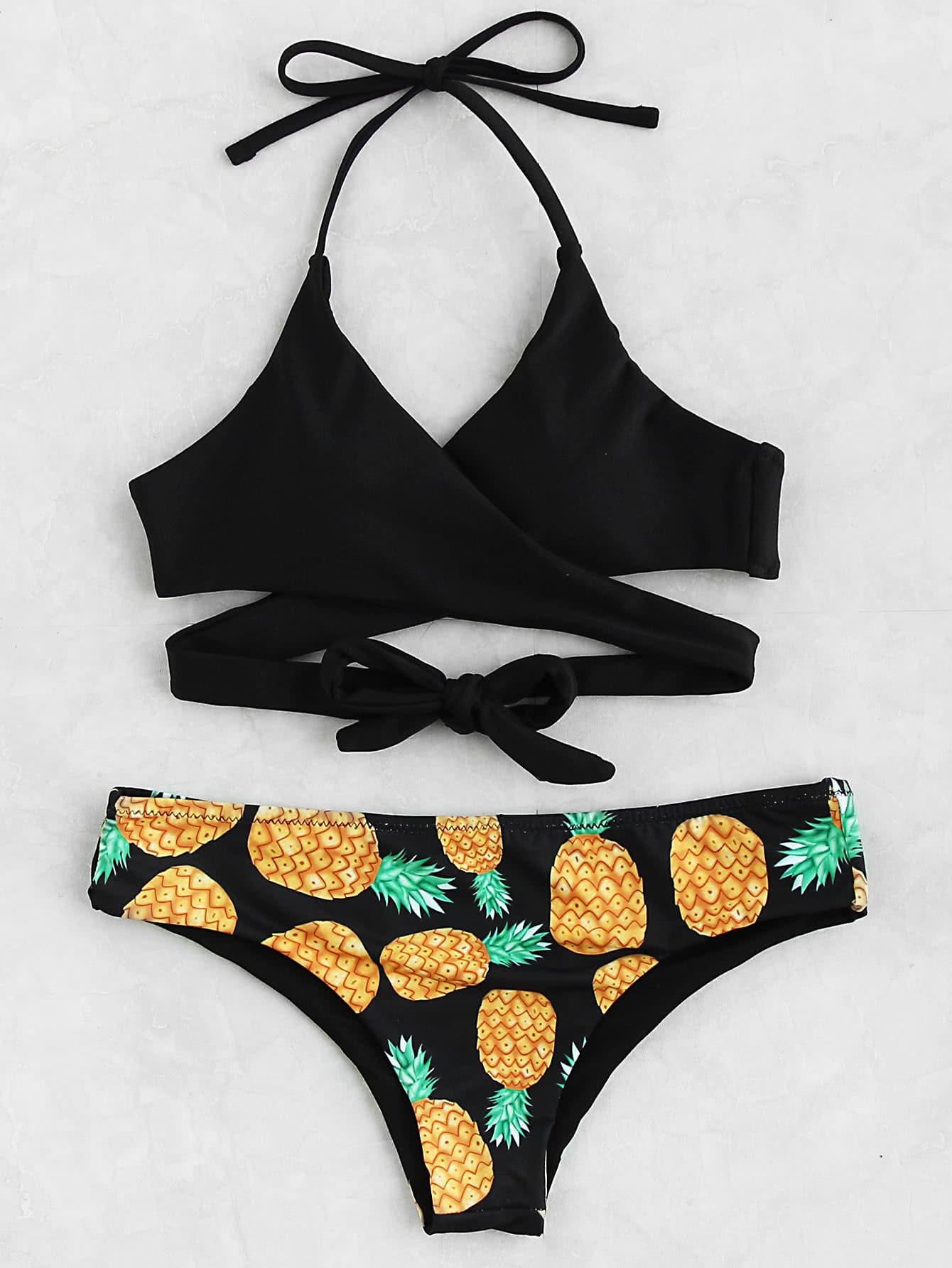 Фото Pineapple Print Wrap Bikini Set. Купить с доставкой