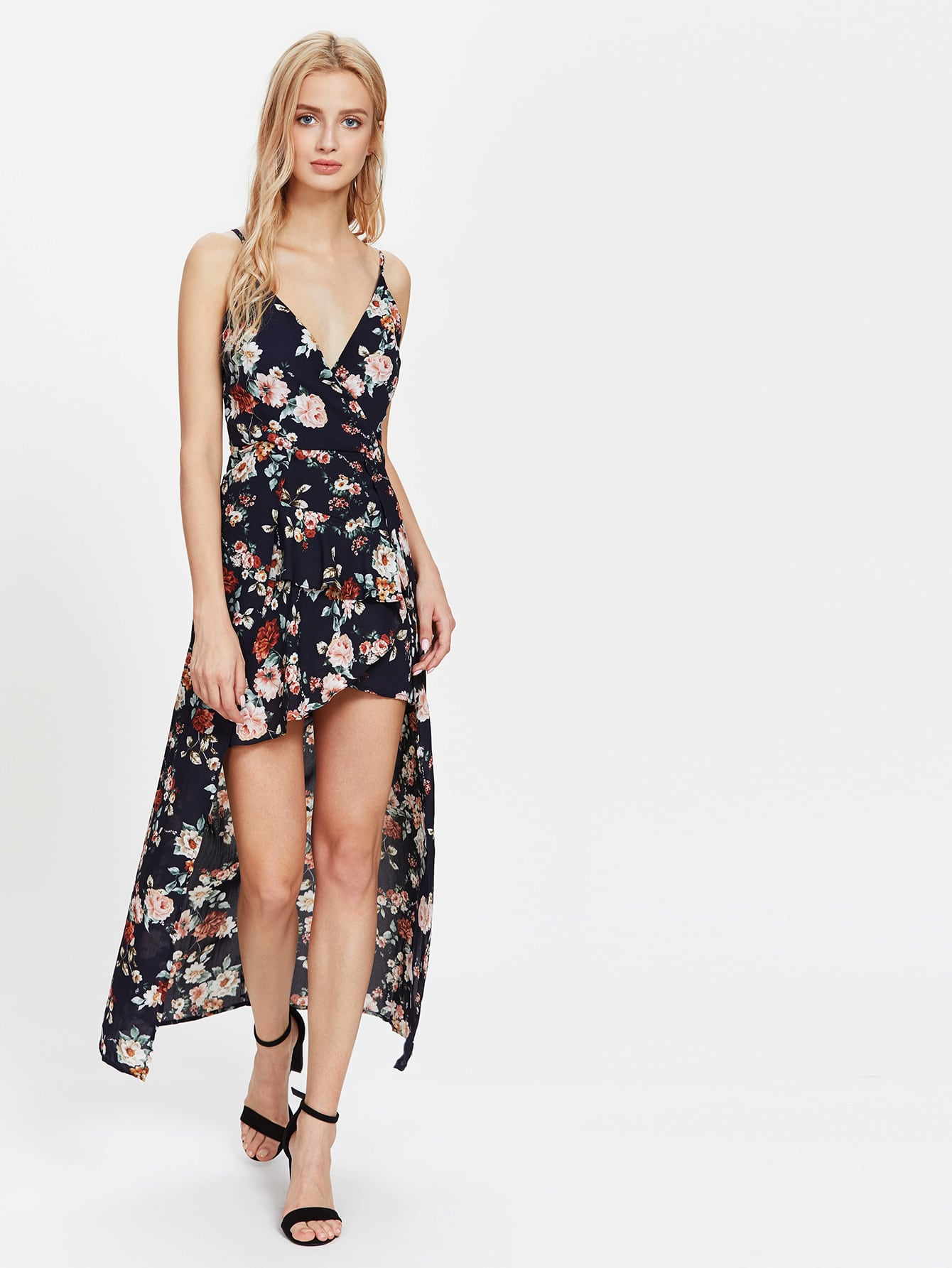 Floral Print Asymmetrical Playsuit jumpsuit170626403
