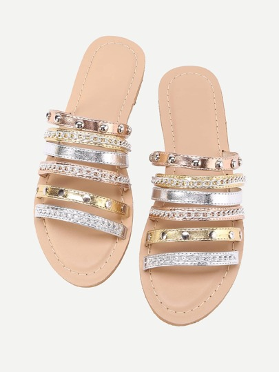 Metallic Strappy Sandals With Chain