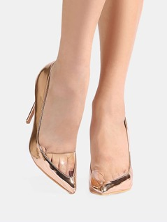 Clear Toe Metallic Pumps ROSE GOLD