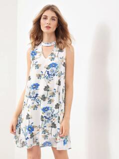 V Cut Choker Neck Floral Print Dress