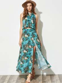 Tropical Print Pleated Halter Top And Maxi Skort Set