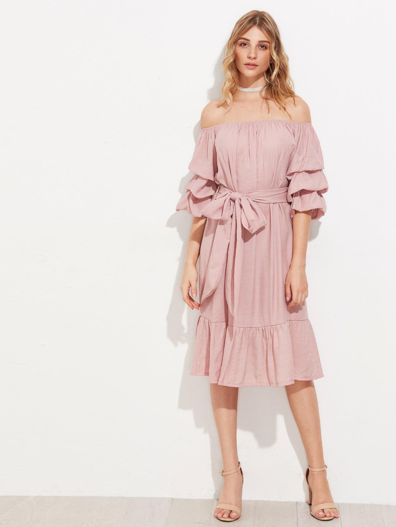 Bardot Ruched Sleeve Frill Hem Self Tie Dress dress170621141
