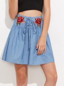 Symmetric Rose Patch Lace Up Drop Waist Skirt