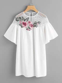 Embroidered Flower Patch Fishnet Yoke Smock Dress