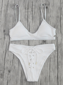 Ensemble de bikini côtelé à lacets