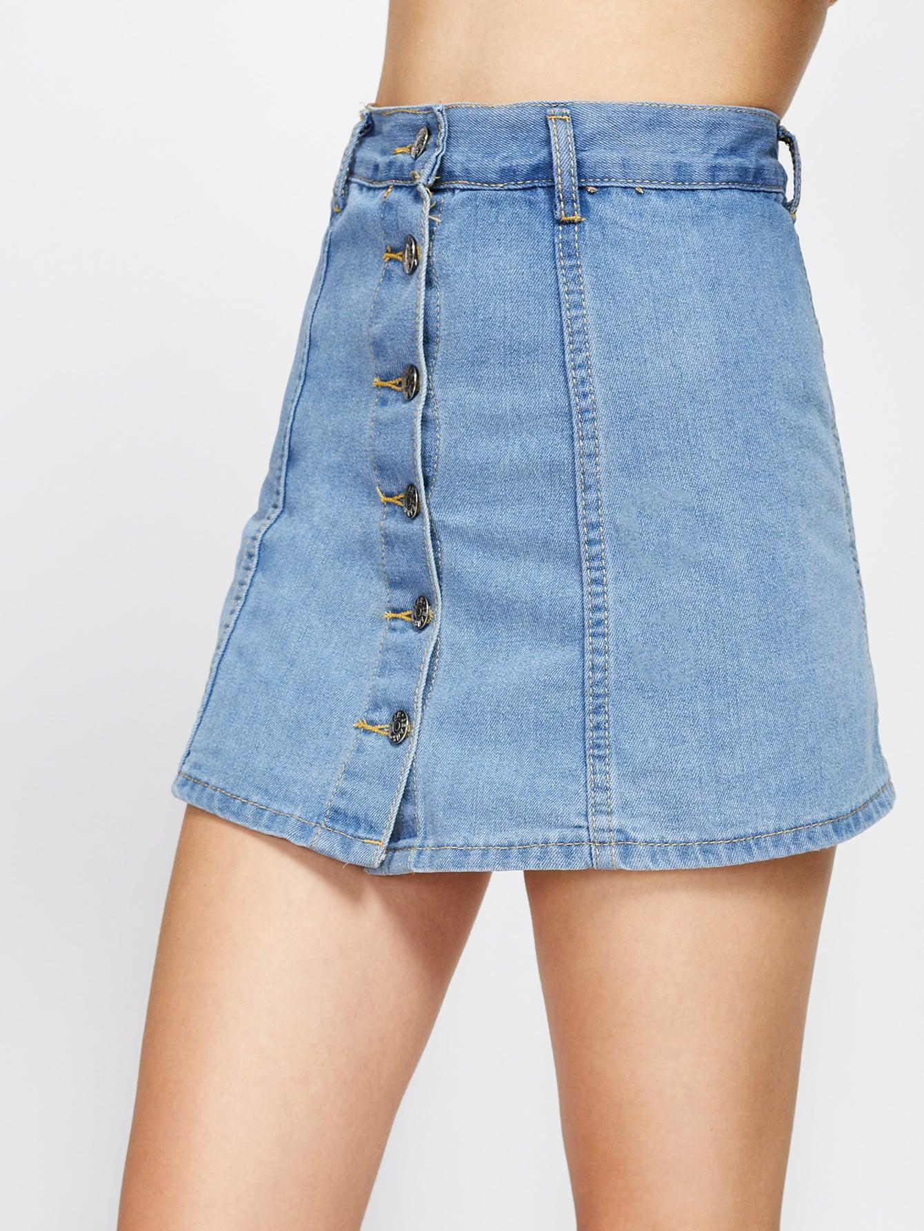 Single Breasted Denim Skirt Shorts vintage single breasted solid color furcal denim suspender skirt