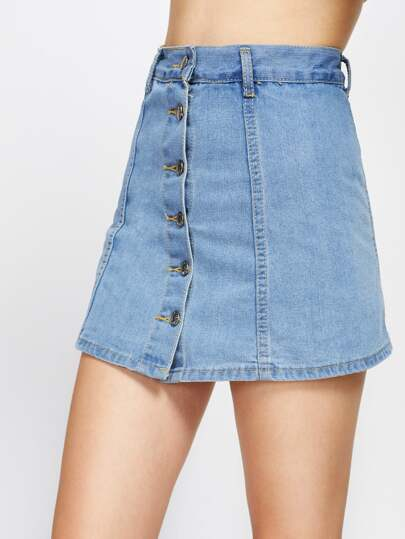 Single Breasted Denim Skirt Shorts