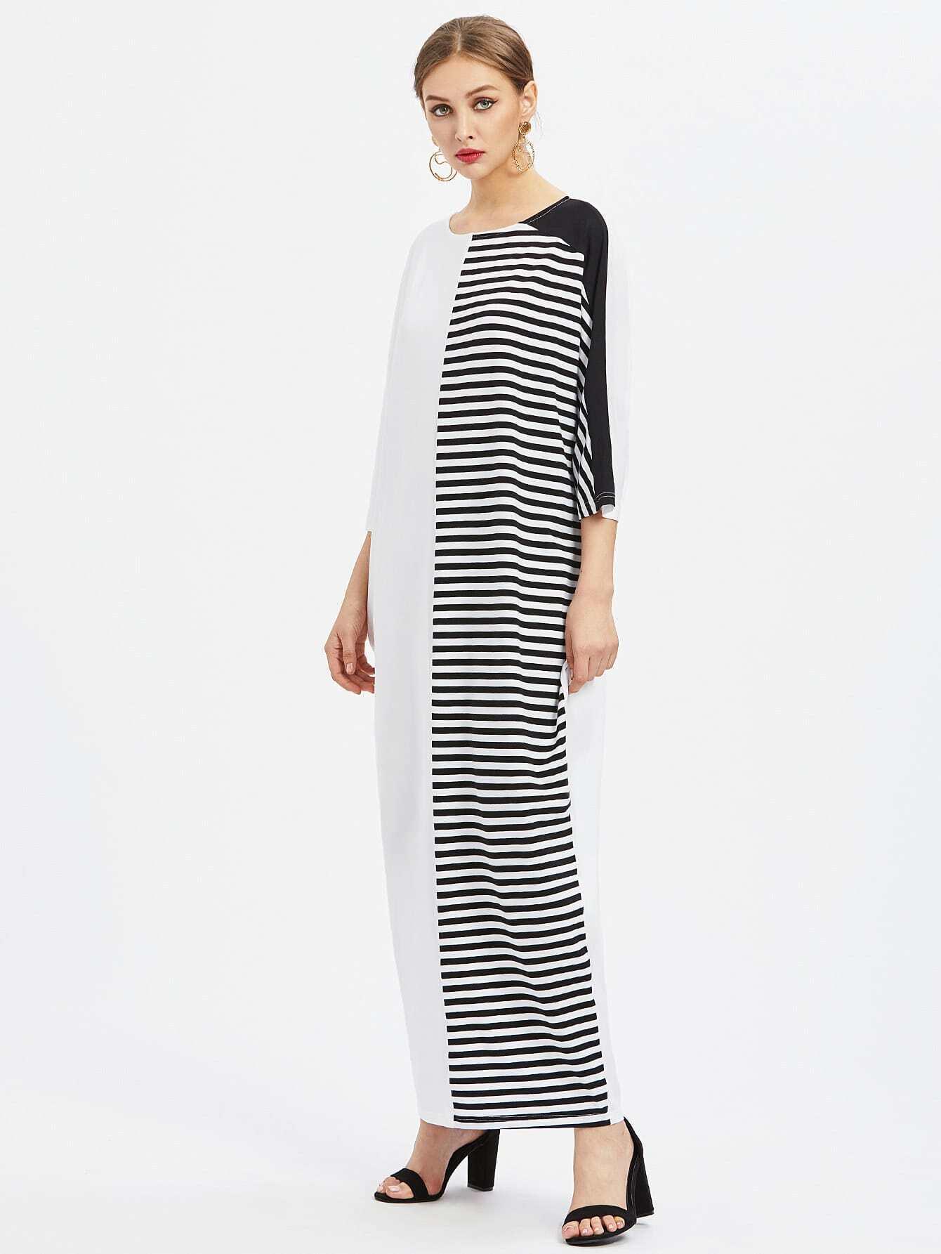 Фото Striped Cut And Sew Cocoon Dress. Купить с доставкой