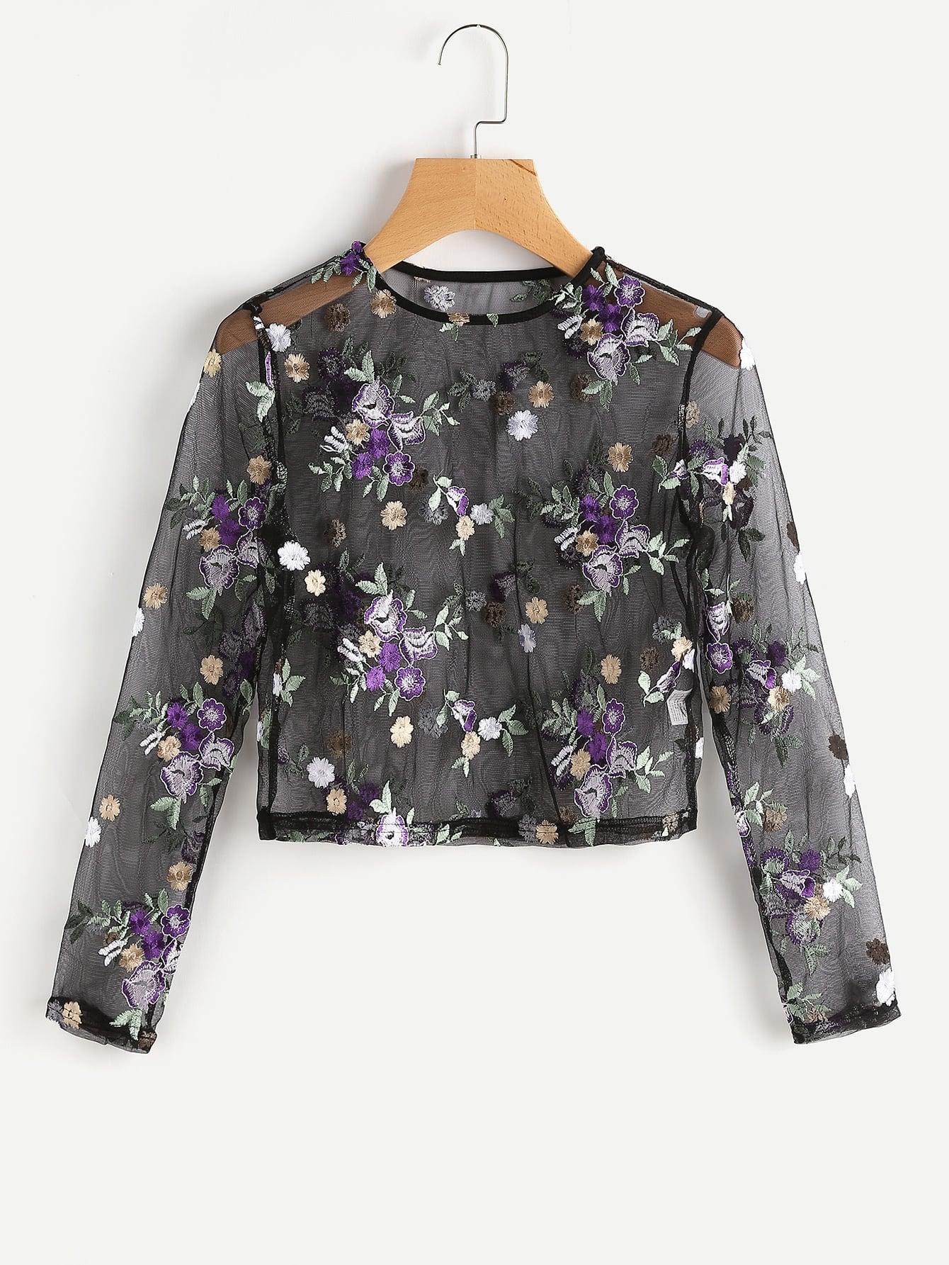 Фото Flower Embroidered Mesh Top. Купить с доставкой