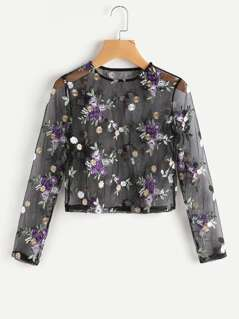 Flower Embroidered Mesh Top