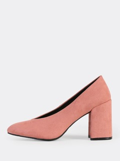 Closed Toe V Cut Chunky Heels MAUVE