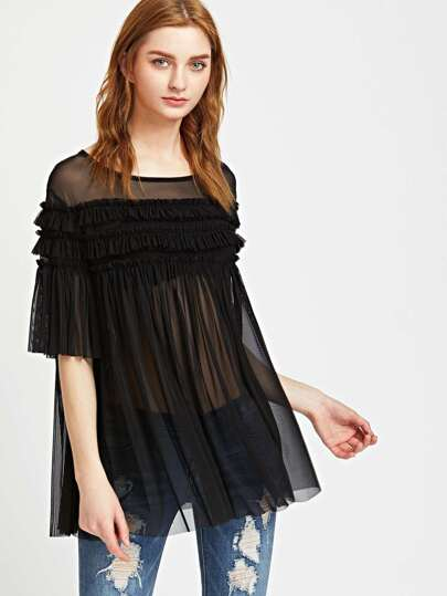 Frill Detail Pleated Swing Mesh Top