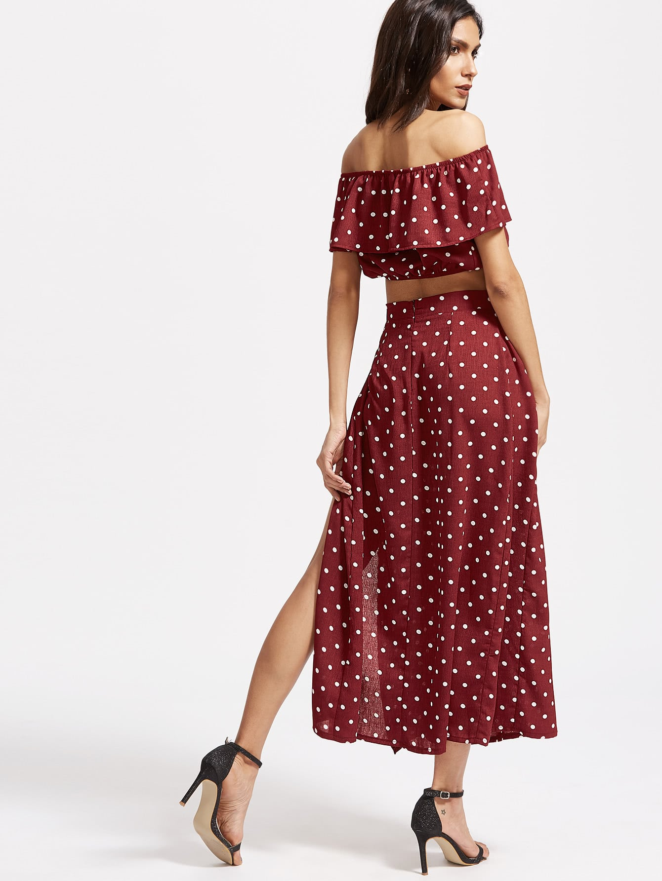Textured Dot Ruffle Crop Top With Split Skirt by Romwe