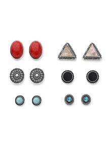 Metal Triangle And Gemstone Design Stud Earring Set