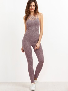 Marled Ribbed Knit Caged Neck Unitard Jumpsuit