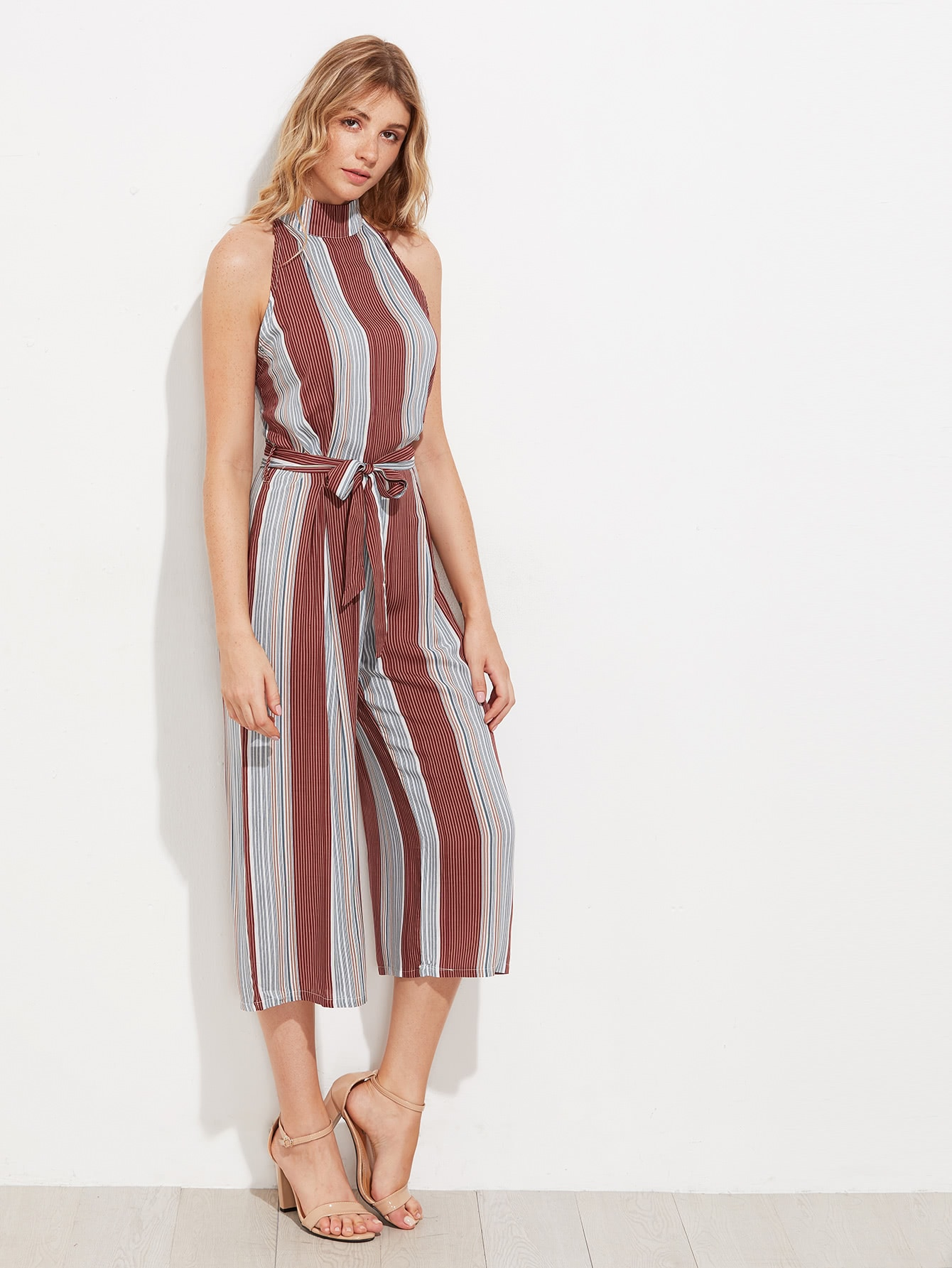 Vertical Pinstriped T Back Wide Leg Jumpsuit