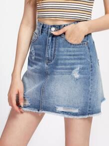 Faded Wash Distressed Denim Skirt