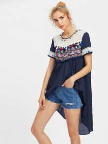 Embroidery Patch And Mesh Yoke Hi Lo Top