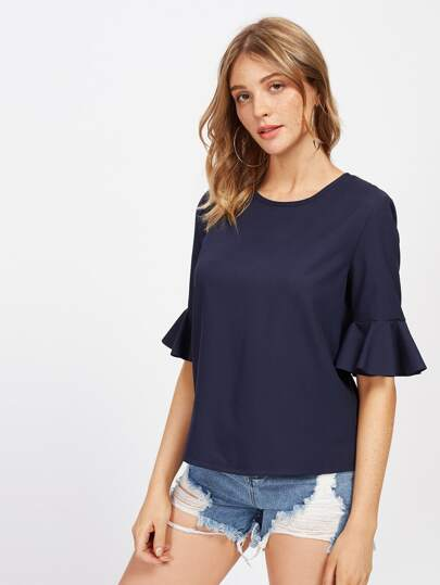 Ruffle Cuff Tunic Top