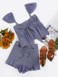 Ruffle Strap Tie Back Checkered Top And Shorts Set