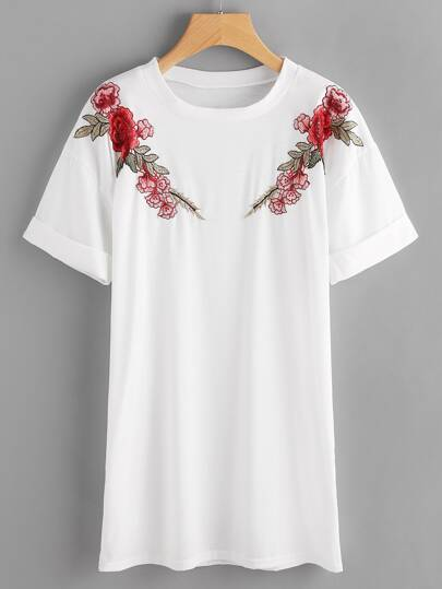 Rose Embroidered Applique Cuffed Tee Dress