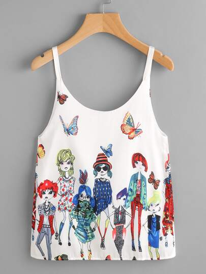 Cartoon Print Cami Top