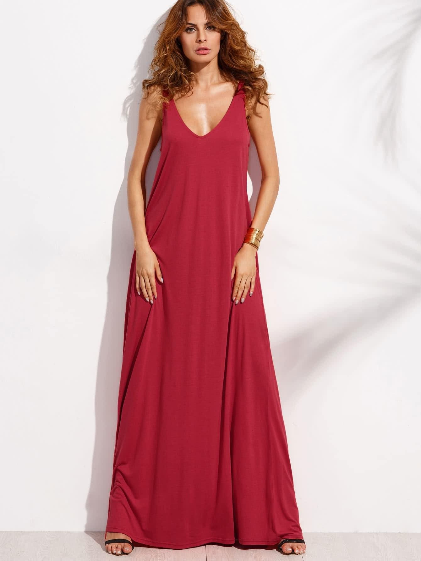 Double V Neck Jersey Tent Dress dress170525453