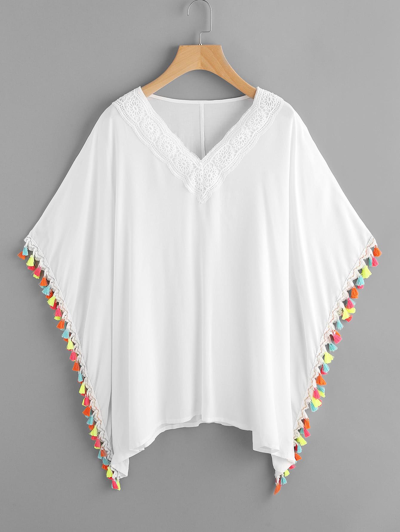 Фото Contrast Tassel Trim Crochet Applique Kaftan Top. Купить с доставкой