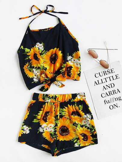 Bow Tie Hem Floral Print Random Top With Shorts