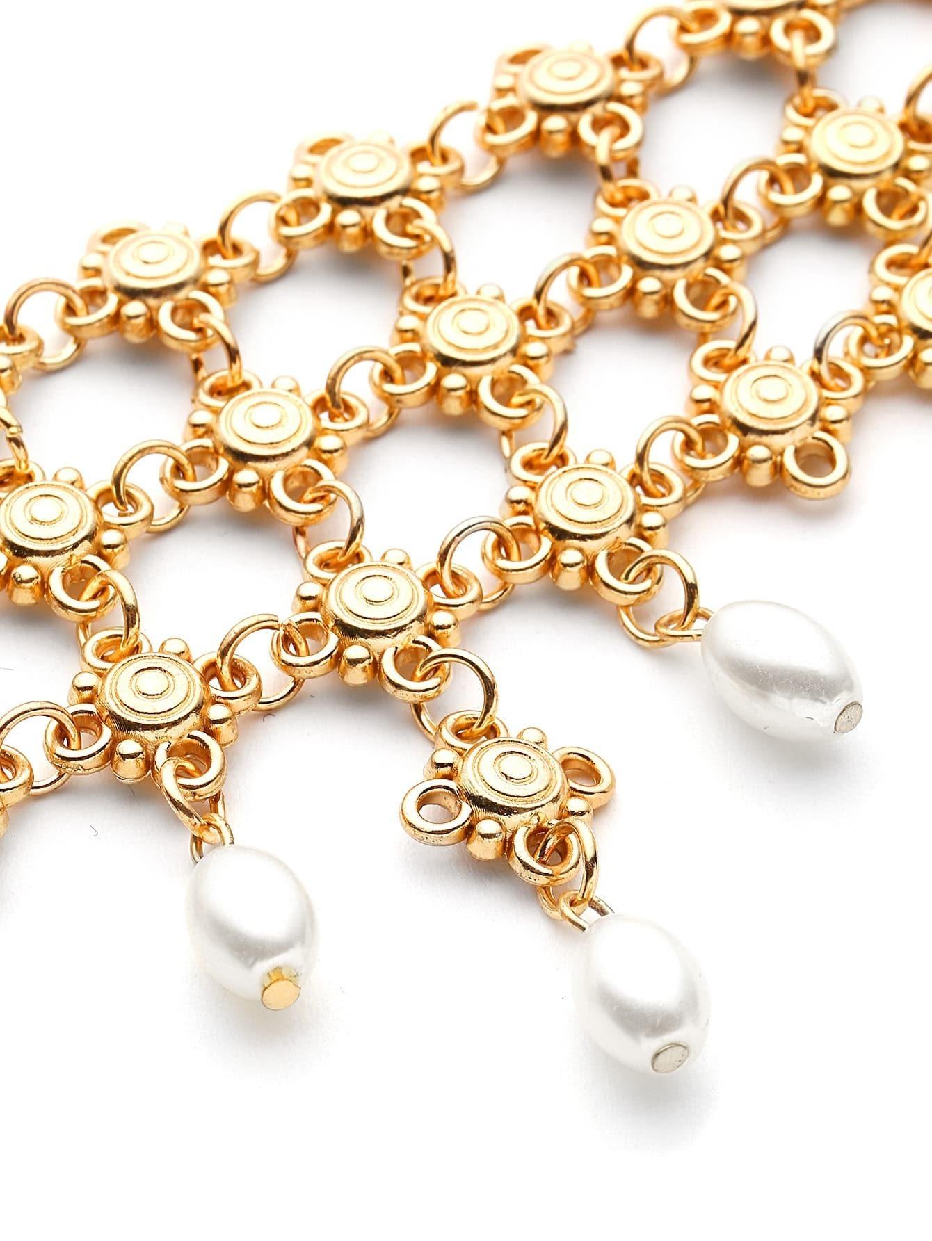 bracelet de fleur avec perles fausses french romwe. Black Bedroom Furniture Sets. Home Design Ideas