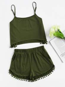 Pom Pom Detail Cami And Shorts Set