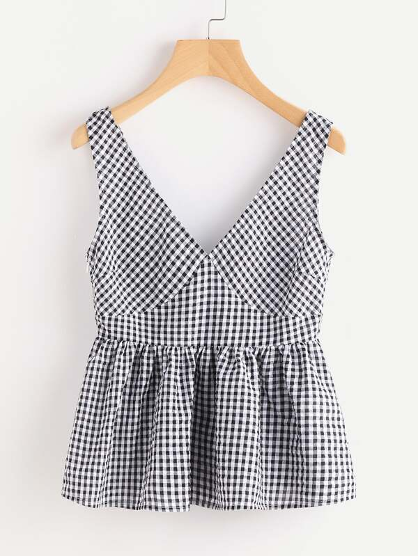 Double Plunge Neck Gingham Peplum Shell Top by Shein