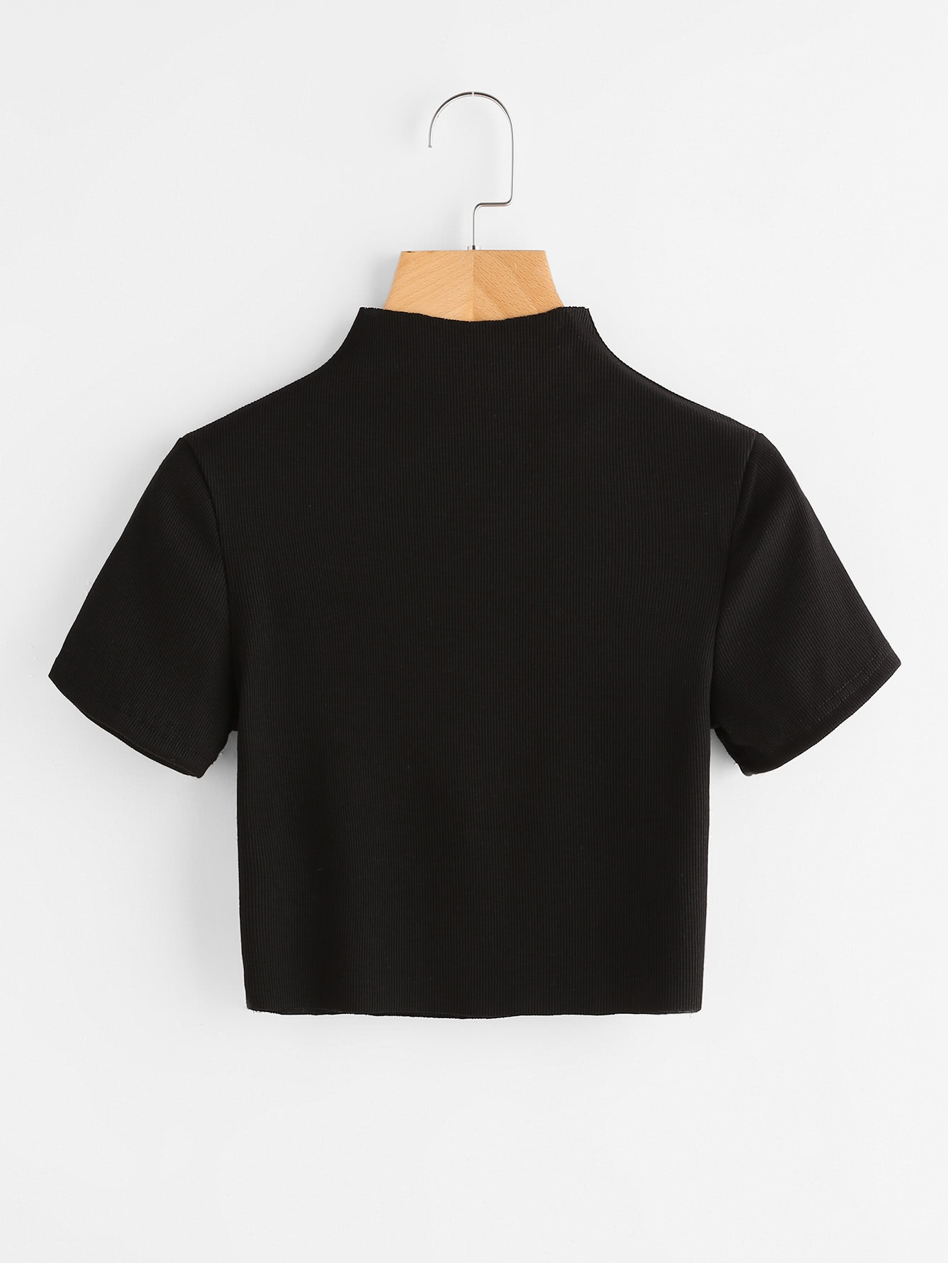 High Neck Ribbed Crop Tee RTSH170606103