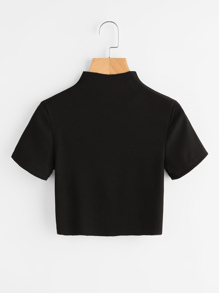 High Neck Ribbed Crop Tee ROMWE