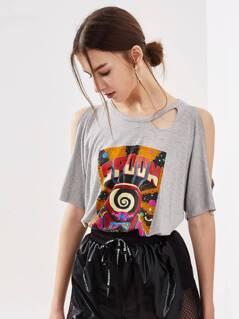 Heather Knit Open Shoulder Dolman Sleeve Cutout T-shirt