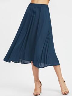 Elastic Waist Crinkle Flowy Skirt