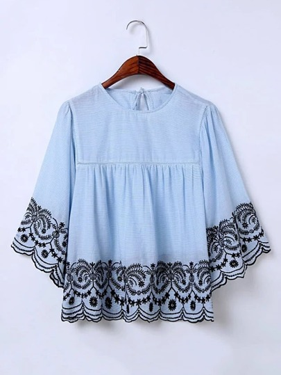 Pinstripe Embroidery Tie Back Top