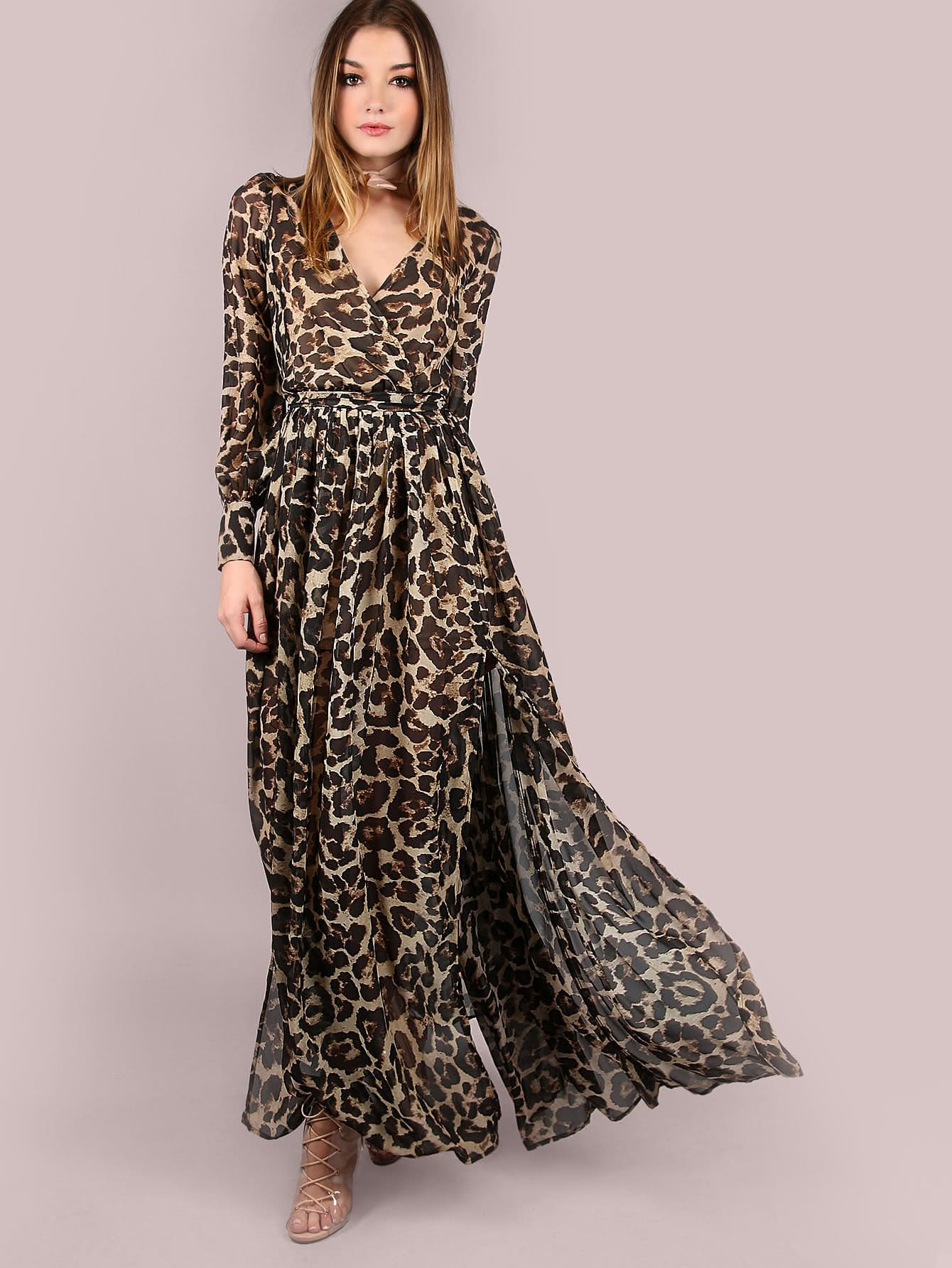 Leopard Print Surplice Neckline Chiffon Dress