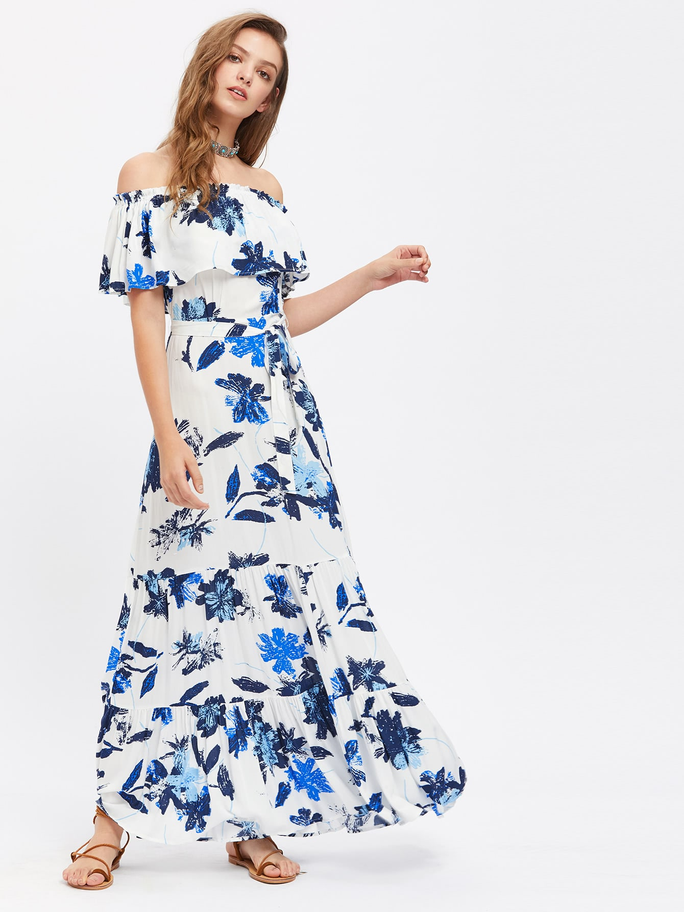 Фото Flower Print Flounce Off Shoulder Tiered Dress. Купить с доставкой