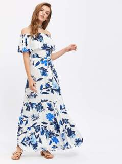 Flower Print Flounce Off Shoulder Tiered Dress