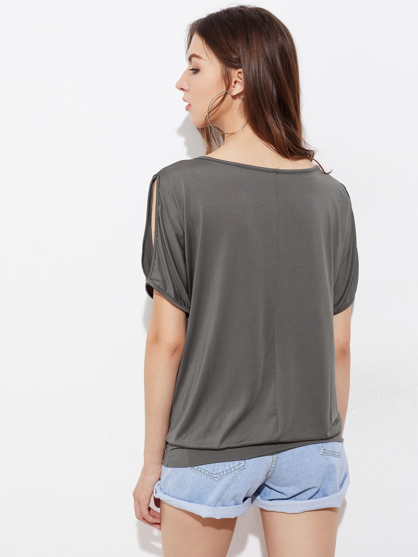 Feather Print Split Shoulder Tee