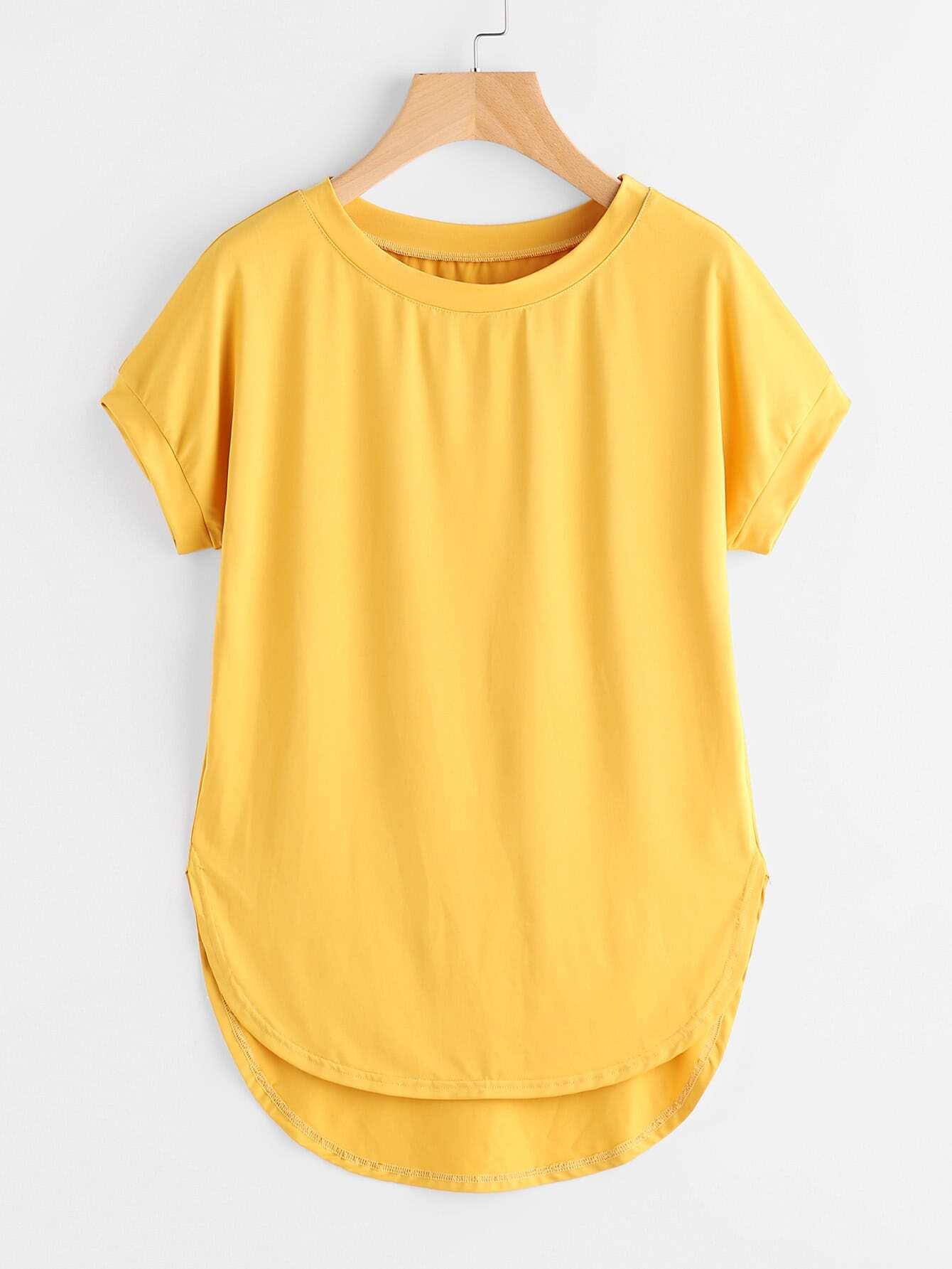 Фото High Low Curved Hem Tshirt. Купить с доставкой
