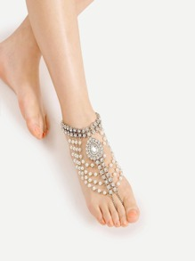 Faux Pearl & Rhinestone Design Anklet With Toe Ring