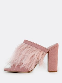 Feathered Mules DUSTY PINK